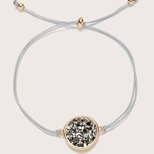 3/$33 Gold & Gray Druzy String Bracelet